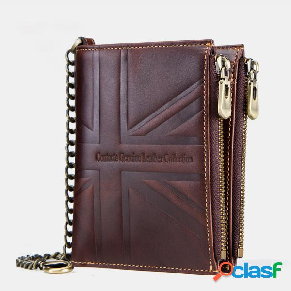 Carteira carteira masculina zippper couro genuíno rfid 9 slots para cartões anti-roubo