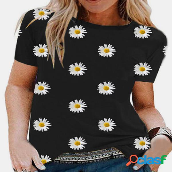 Daisy floral print manga curta casual t-shirt para mulheres