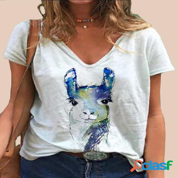 Cervos dos desenhos animados impressão manga curta com decote em v Plus tamanho camiseta