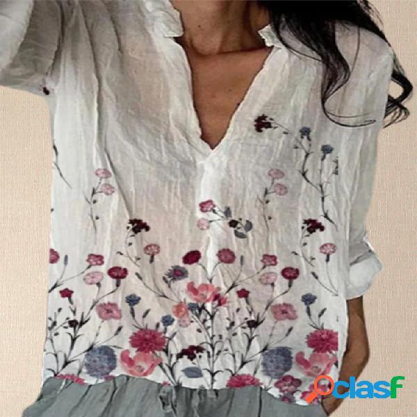 Flores Imprimir Decote em V Plus Tamanho Casual T-shirt