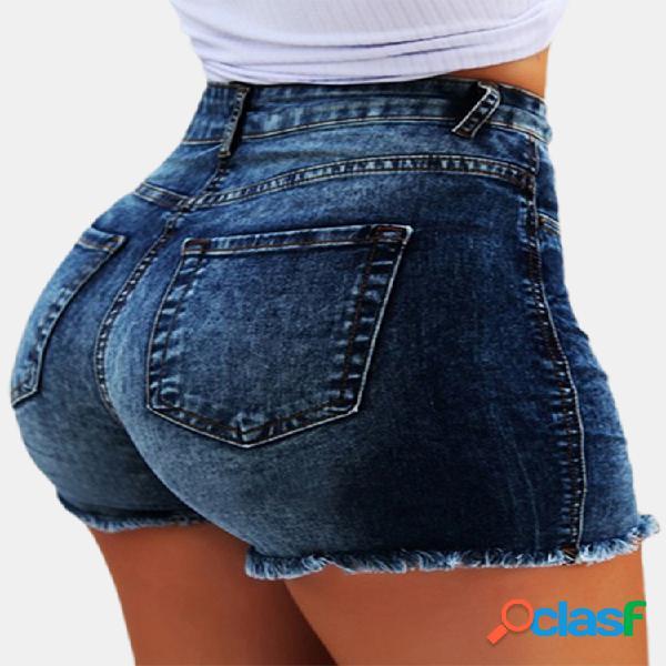 Franjas justas de cintura alta rasgado curto Jeans