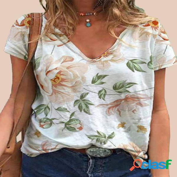T-shirt com estampa de flores de manga curta com decote em V Plus tamanho