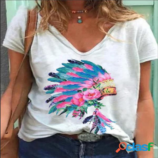 Flores estampado manga curta decote em v plus tamanho camiseta