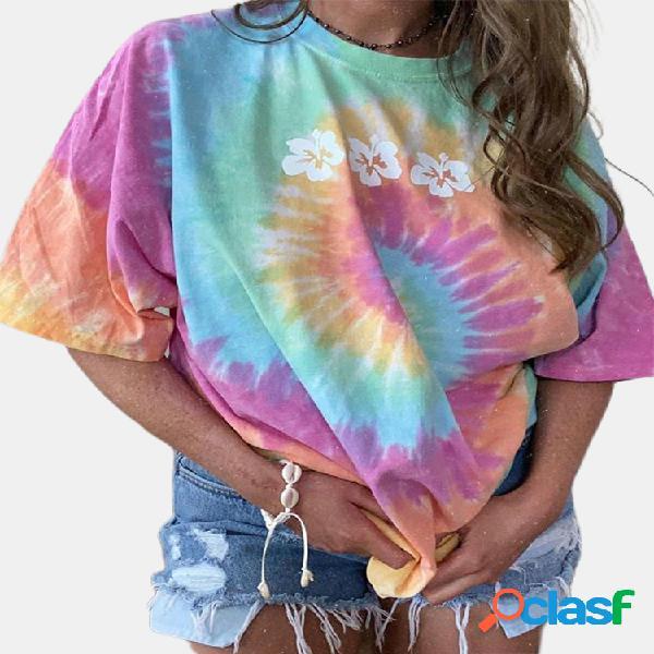 T-shirt floral tie dye estampada com decote em o de manga curta solta