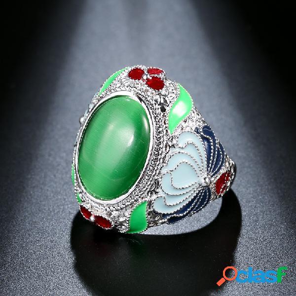 Anel de dedo boêmio verde olho de gato gota de metal óleo strass esculpido anel de flor