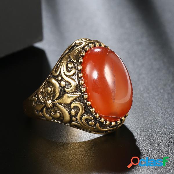 Anel de pedra áspera esculpida em metal vintage anel de dedo de cristal oval de olho de gato geométrico