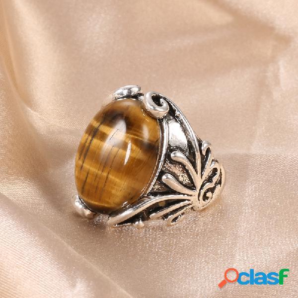 Anel de pedra natural vintage prata antiga esculpida olho de tigre anel de dedo de pedra