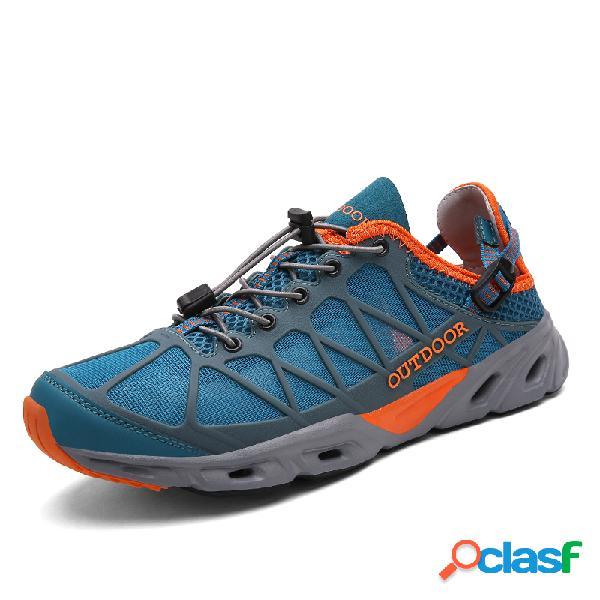 Água multifuncional sapatos da angra da malha de secagem rápida dos homens