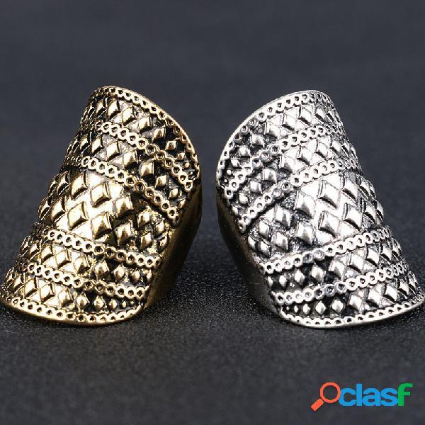Anel de diamante sólido geométrico boêmio anel de dedo de metal rebite punk exagerado