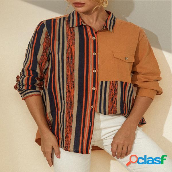 Blusa com estampa listrada patchwork mangas compridas casual