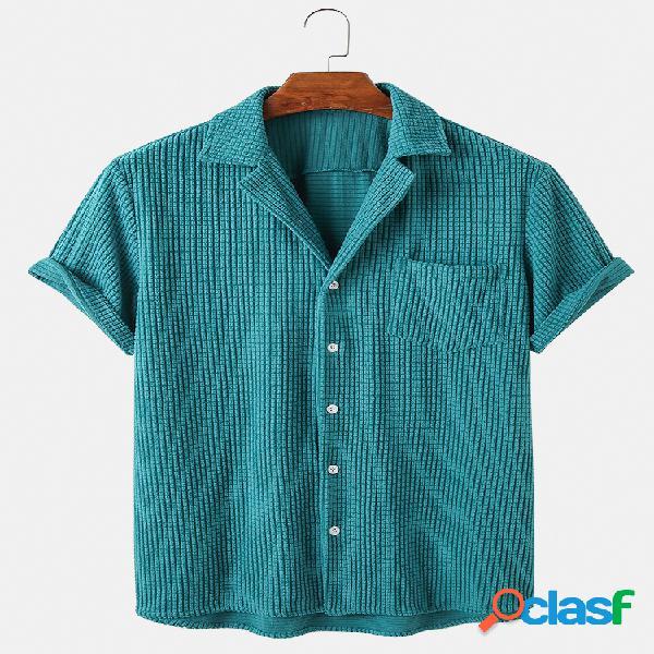 Newchic design homens solta botão de veludo de algodão para baixo xadrez respirável camisas casuais de manga curta