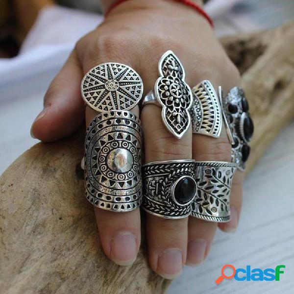 8 pçs / set mulheres esculpidas em metal do vintage anéis conjunto bohemian wide silver sun jewelry ring