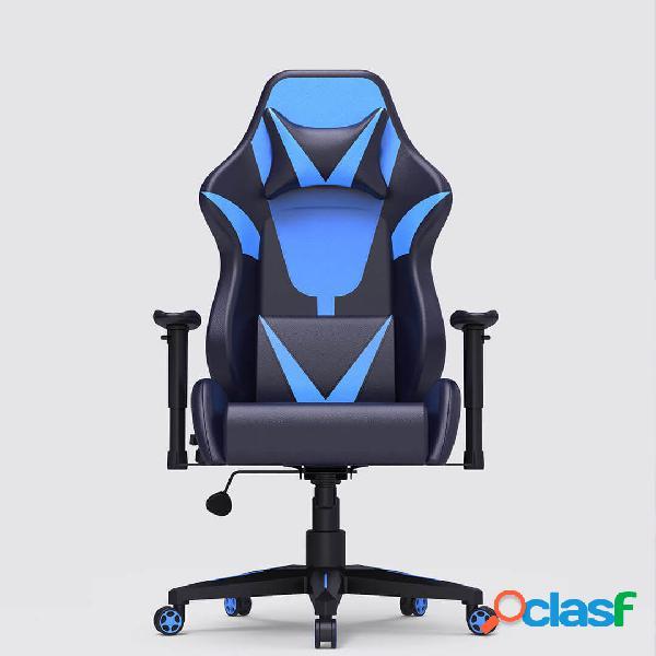 cadeira para jogos de corrida ergonômica autofull cadeira dobrável de couro pu com ângulo de reclinação ajustável com roda muda de
