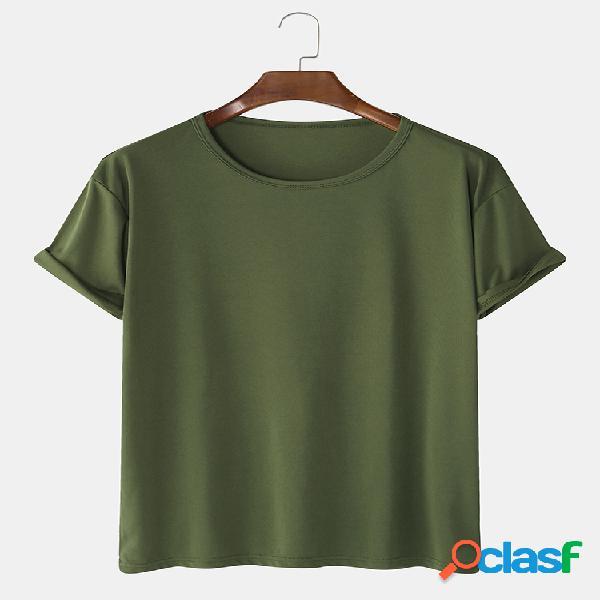 Camiseta masculina de algodão cor sólida em volta do pescoço manga curta casual básica