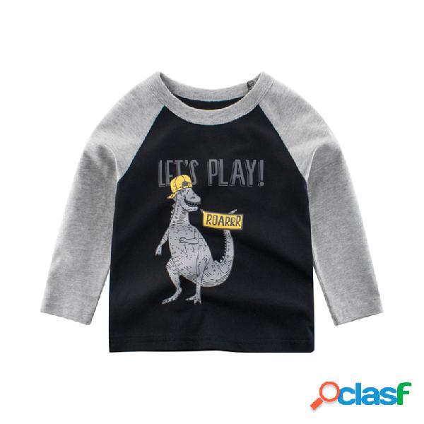 Dinossauro do menino imprimir mangas compridas patchwork casual t-shirt for 2-10y