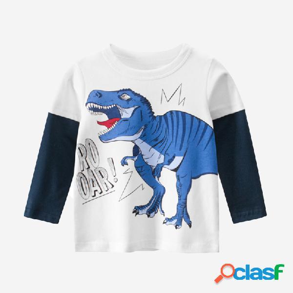 Dinossauro do menino patchwork mangas compridas t-shirt casual para 2-10a