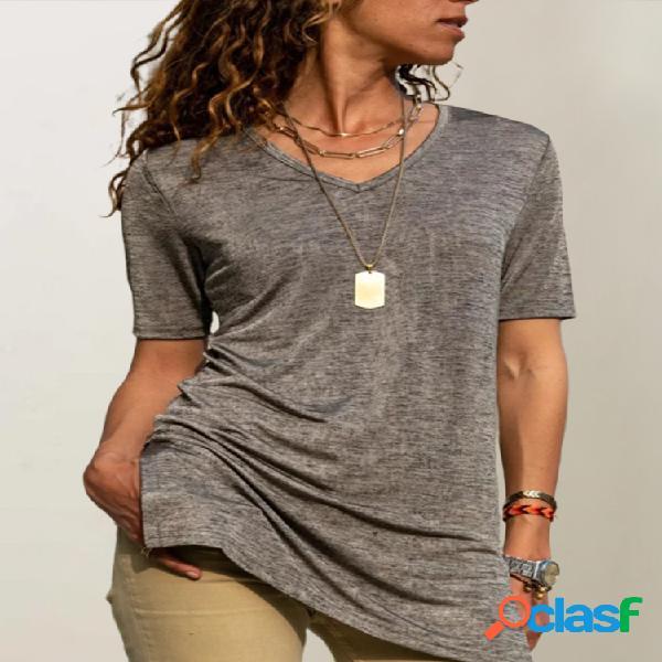 Casual manga curta com decote em v split hem plus tamanho t-shirt
