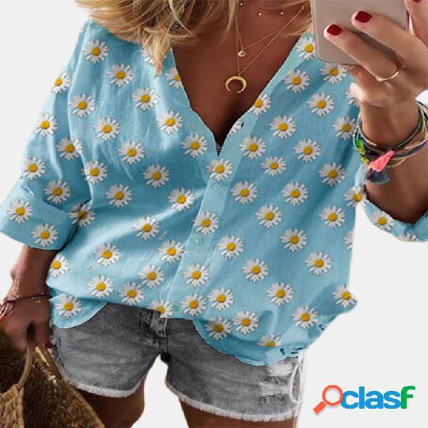 Daisy floral print manga comprida casual camisa para mulheres