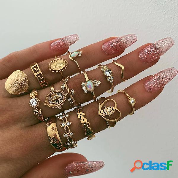 15 pcs metal vintage oco beleza avatar anéis definir moeda de ouro em forma de coração cruz padrão anel de montagem de diamante