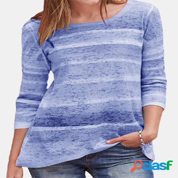 Colorful blusa casual de mangas compridas com gola listrada