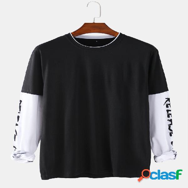 Mens 100% algodão patchwork manga comprida solta casual o-neck t-shirts