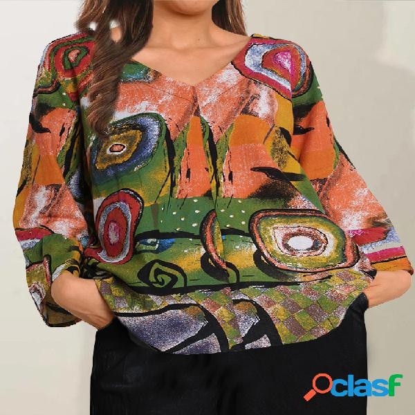 Blusa com estampa geométrica meia manga decote em v plus tamanho