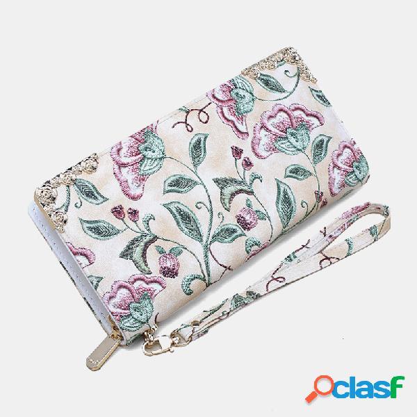 Mulheres flor bordado zipper 6,3 polegadas telefone titular bolsa carteira longa