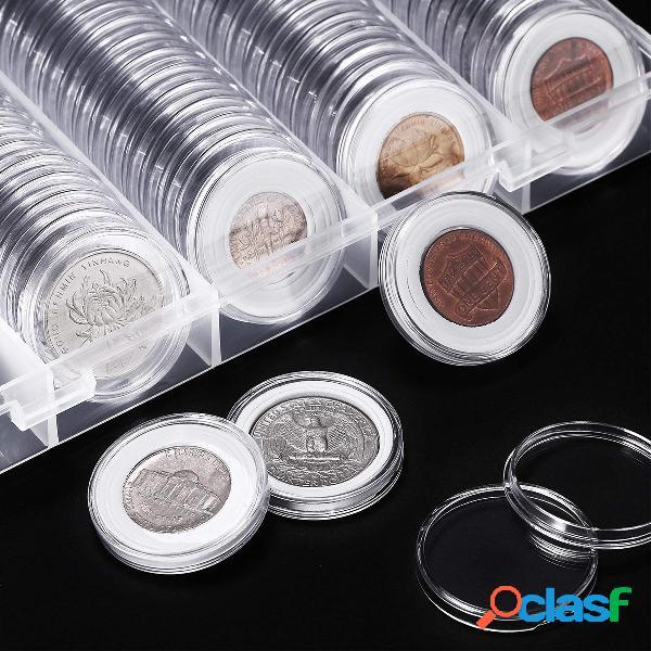 100 unidades 20/25/27 / 30mm aplicadas caixas redondas transparentes para armazenamento de moedas titular de cápsulas de coleção de moedas