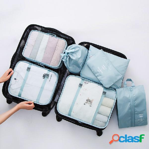Armazenamento de viagem de sete peças bolsa armazenamento de roupa íntima de bagagem acabamento de viagem bolsa armazenamento de roupas bolsa