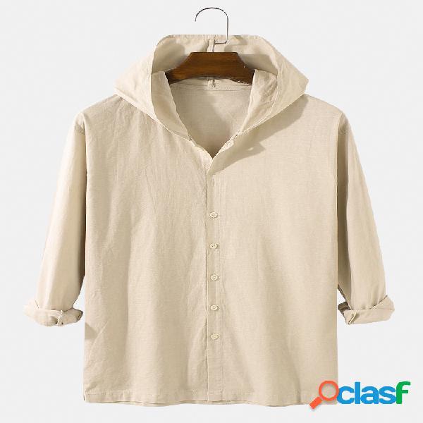 Camisa masculina de algodão cor sólida com botões casuais de manga comprida