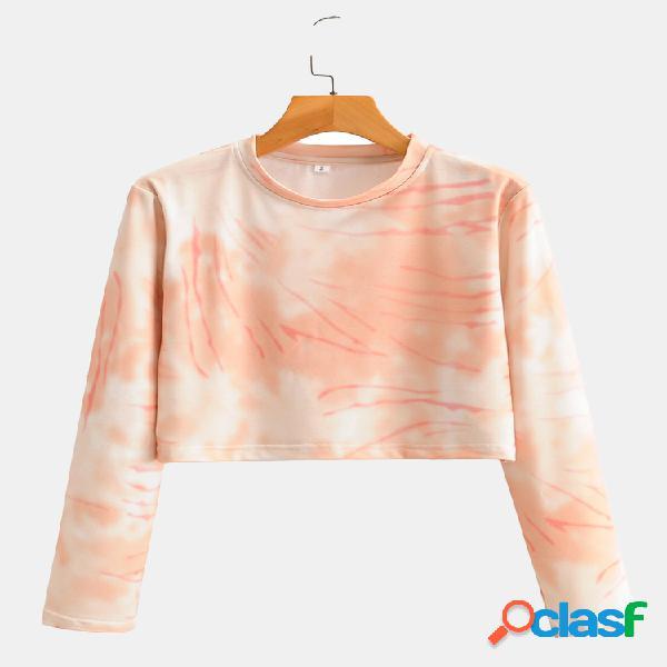 Camisola com decote em ombre impresso tie dye