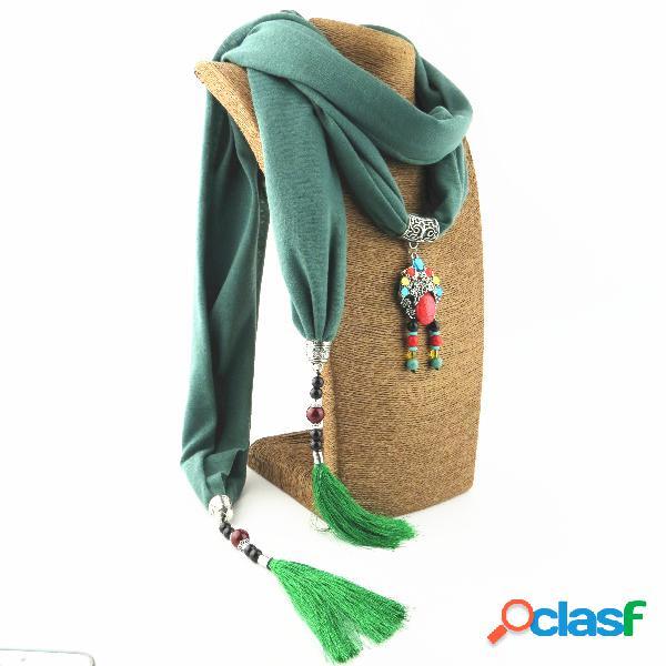 Colar multicamada de linho de algodão impresso boêmio feminino pingente lenço xale colar de joias