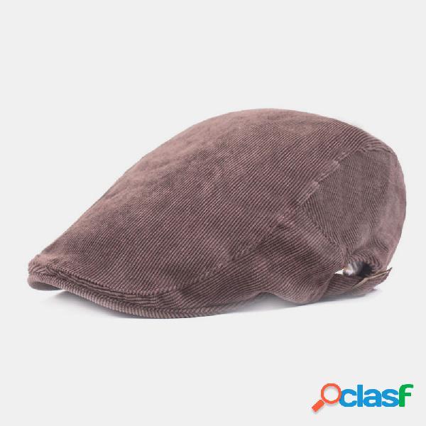 Homens veludo cotelê retro uv proteção visorsolid fashion forward chapéu boina chapéu tampas planas