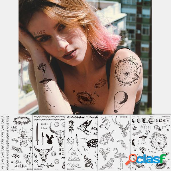 Adesivos de rosto de halloween temporários tatuagem à prova d'água à prova de suor respirável corpo artístico falsificado tatuagem