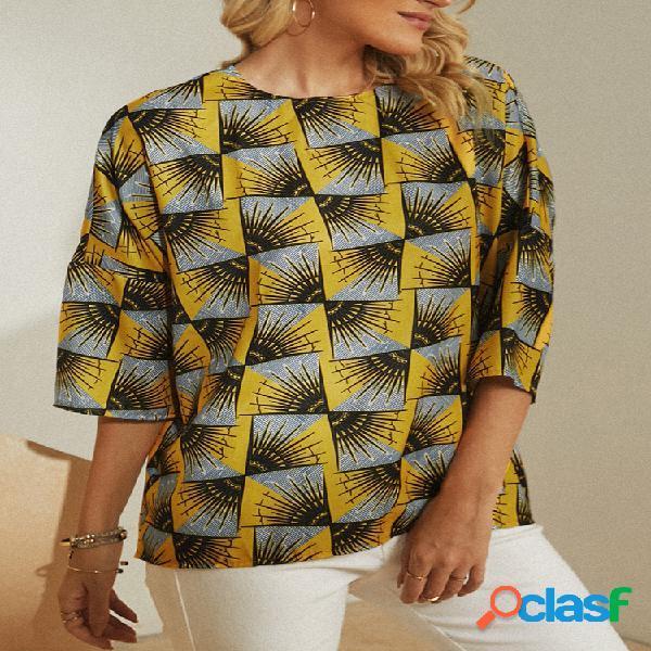 Blusa casual feminina com estampa geométrica com decote em o