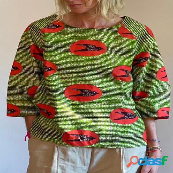 Blusa vintage bird listrada com gola 3/4 estampada com gola o