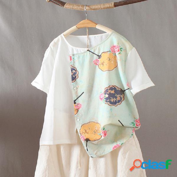 Camiseta de manga curta com decote em o com estampa vintage em patchwork dividido