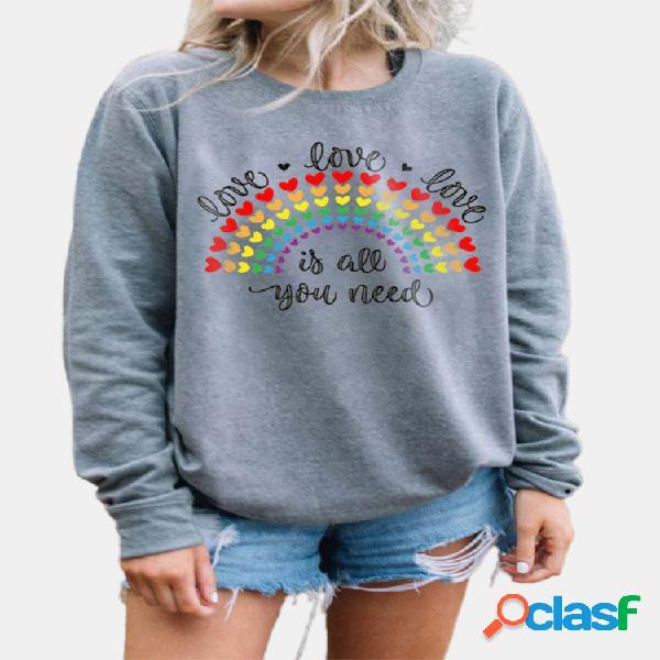 Coração rainbow letter print manga comprida moletom casual para mulheres