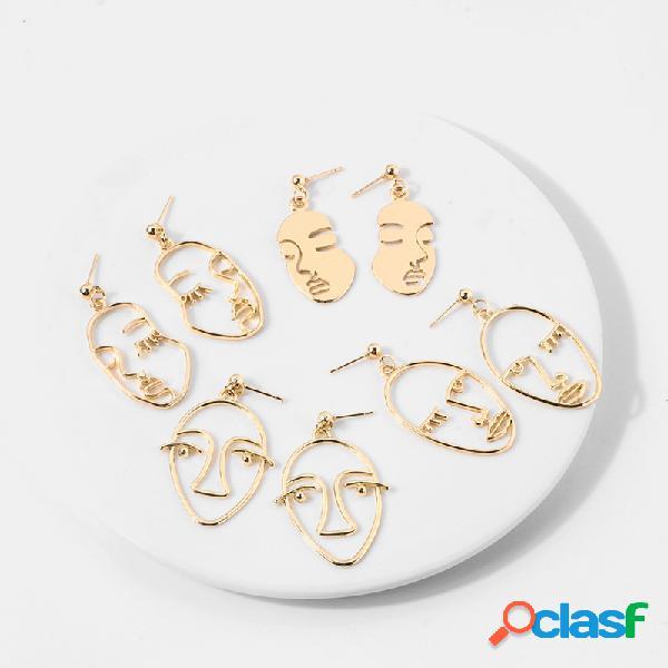Rosto humano punk brincos rosto abstrato oco pingente brinco brinco joias femininas feitas à mão