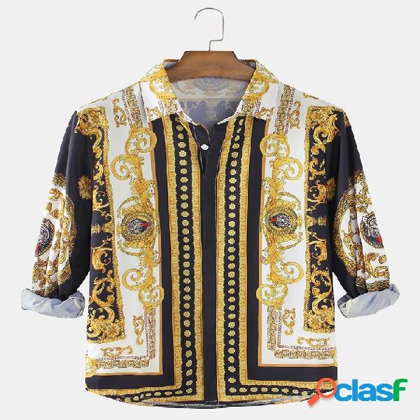 Camiseta masculina estampa barroca casual ajuste regular lapela camisas de manga comprida