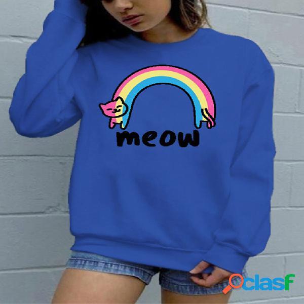 Cartoon cat rainbow com estampa de manga comprida o-neck