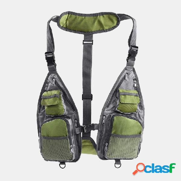 Colete de pesca multifuncional masculino oxford respirável mochila de bolso