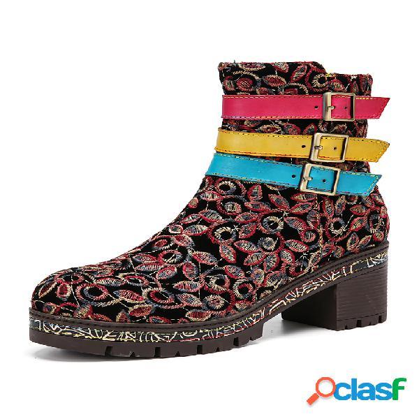 Socofy tecido retro bordado floral três cores couro tira com fivela zíper botas curtas de salto robusto