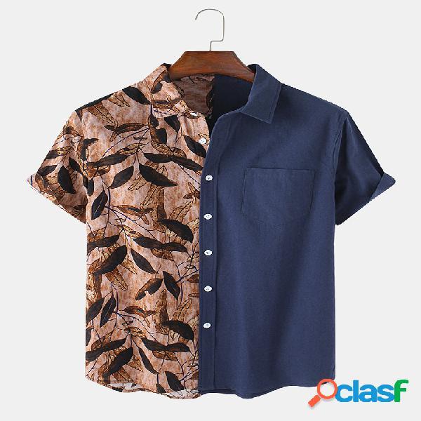 Mens 100% algodão patchwork folha estampa casual camisas de manga curta com bolso