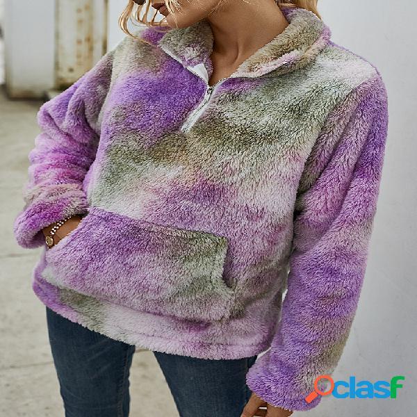 Moletom de pelúcia multicolorido com estampa gravada de manga comprida para mulheres
