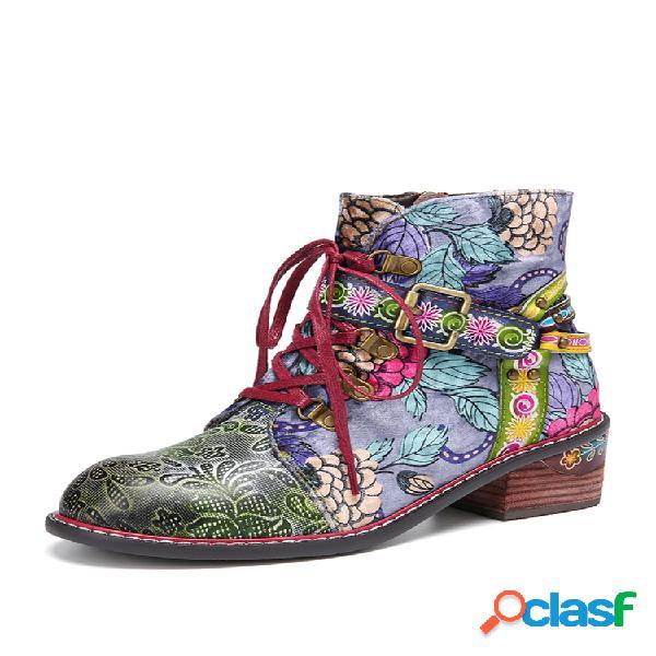 Socofy tecido com estampa floral de couro emendado com fivela decoração com zíper lateral confortável bota de tornozelo