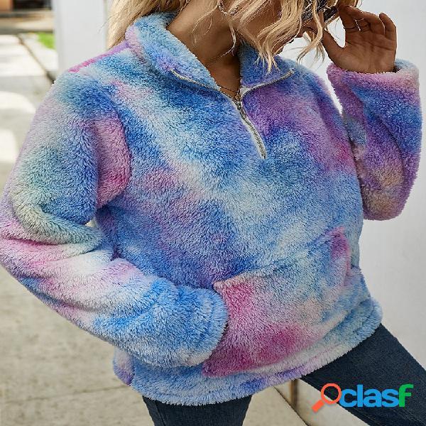 Suéter casual de pelúcia estampado com estampa longa de manga comprida