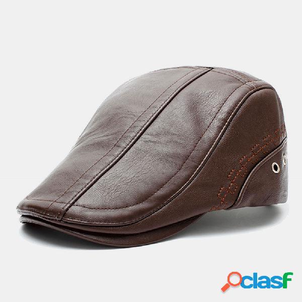Men couro genuíno protetor solar de cor sólida manter aquecido casual frente chapéu boina chapéu