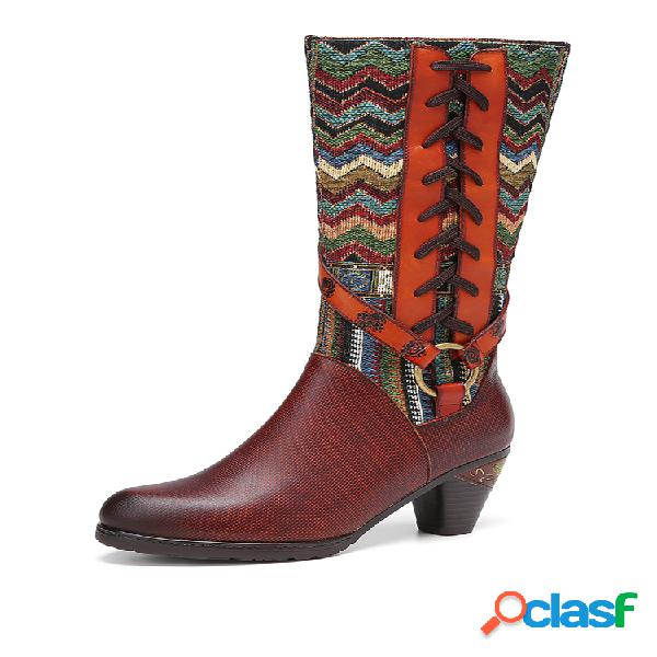 Socofy decoração de fivela de metal bordado ondulado emenda couro genuíno botas de salto médio na panturrilha