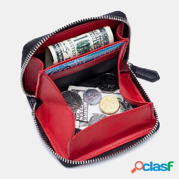 Carteira carteira carteira feminino couro genuíno rifd money clip carteira